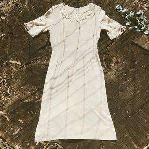 Vintage 70's Cotton Linen Prairie Dress